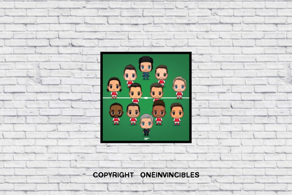 Arsenal Chibis With Arsene Wenger In Wall Print 20 X