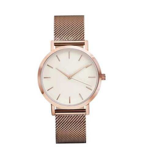 Womens Fashion Stainless Steel Strap Analog Quartz Wrist Watch