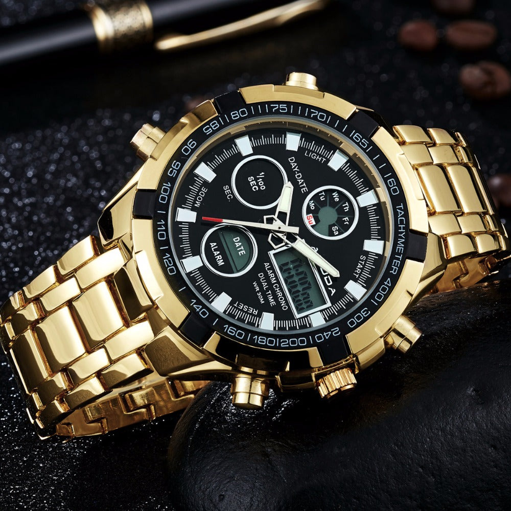 AMUDA Mens Luxury Gold Watch