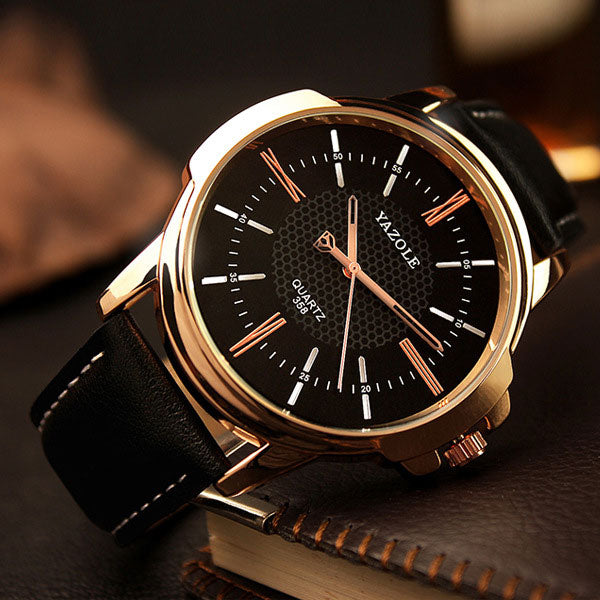 Mens Rose Gold Quartz Wrist Watch