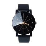 Men Quartz Dial Leather Wrist Watch With Round Case