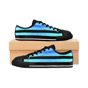 """Black and Blue Stripes"" Deluxe Women's Sneakers - And Above All...YOGA"