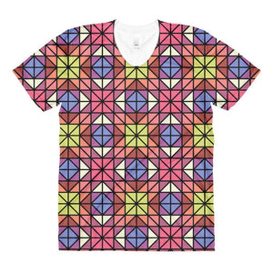 """Red-Blue Mosaic"" Women's Crew Neck T-Shirt - And Above All...YOGA"