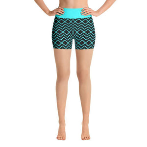 """Zig-Zag Turquoise"" Yoga Shorts - And Above All...YOGA"