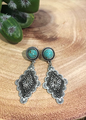 Natural Stone Concho Earrings
