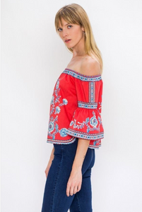 Red Off-the-Shoulder Printed Top