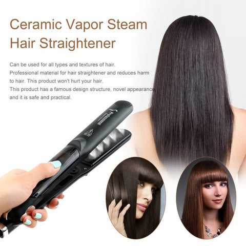 Professional Dual Use Ceramic Vapor Steam Hair Straightener Salon Personal Use Hair Styling Tool Straightener US Plug Selling