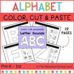 Alphabet and Phonics Practice - Color, Cut and Paste