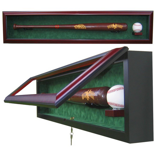Baseball Bat And Ball Custom Hand Crafted Wood Cabinet Display Case