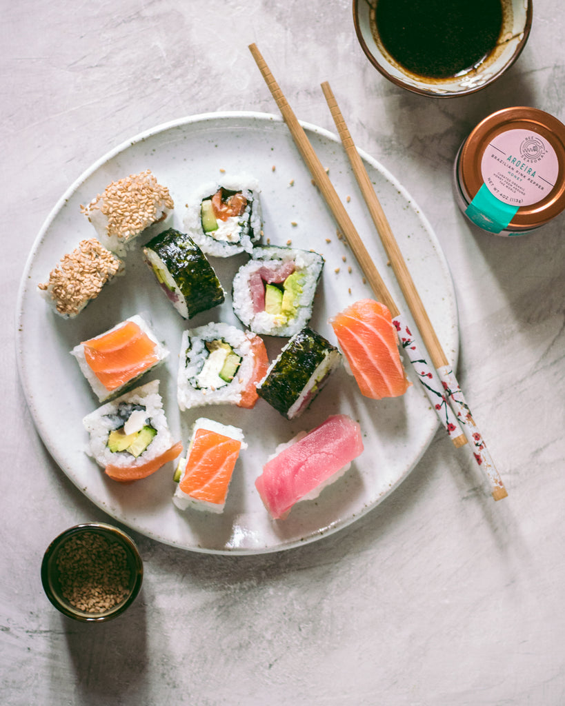 Sushi Rolls with Honey Soy Sauce