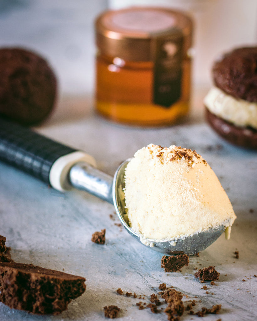 Honey ice cream chocolate cookie sandwiches