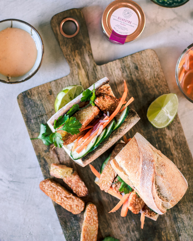 Bahn Mi Sandwich with Honey Sriracha Sauce
