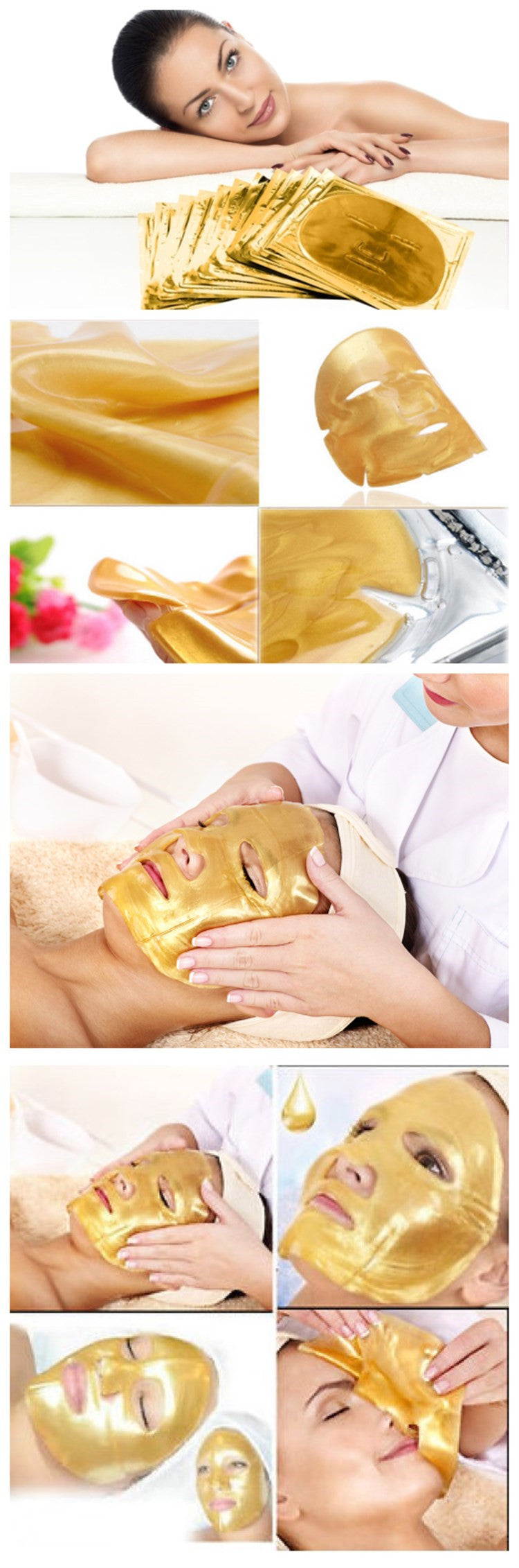 24 carat gold facial mask. 5 pieces.