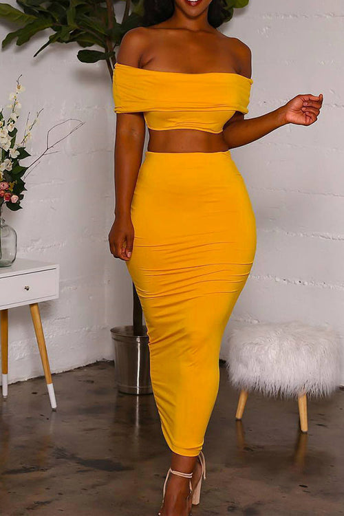 Plus Size SEXY MAMA Off Shoulder Crop Top and Maxi Skirt in Mustard - Flyy By Nyte