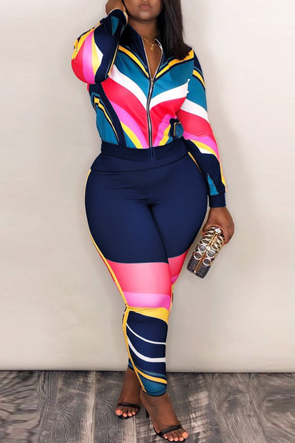 Plus Size GET IT 2-Piece Tracksuit in Royal Blue Pink Red and Yellow - Flyy By Nyte