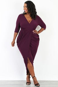 Women's Plus Size 3/4 Sleeve Ruched Maxi Dress in Plum - Flyy By Nyte