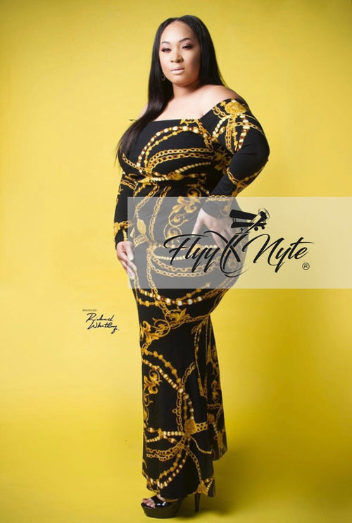 Plus Size GOLD CHAINS Maxi Dress in Black/Gold