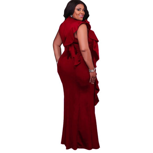 Final Sale Women's Plus Size Sleeveless Maxi Dress with Side Ruffle in Burgundy