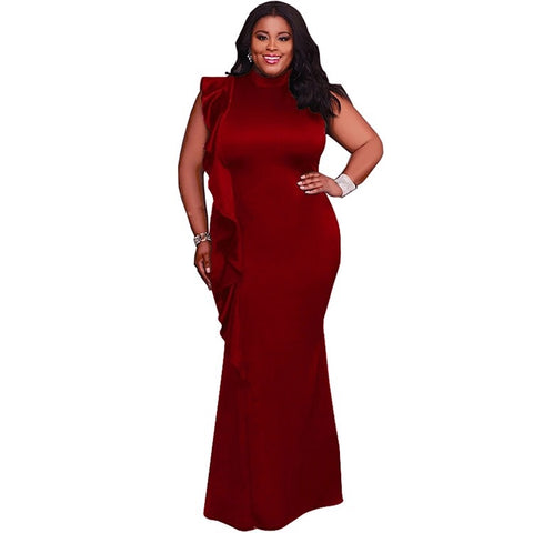 Final Sale Plus Size Long Puffy Sleeve Faux Wrap Mini Dress with Attached Tie in Burgundy