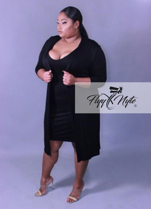 Plus Size 2-Piece Duster and Midi Length Bodycon Dress in Black