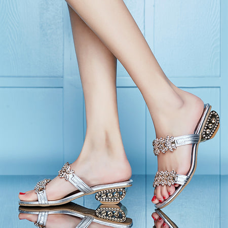 Women's Chic Snake Wrap Sandals w/ Diamond and Sequin Design