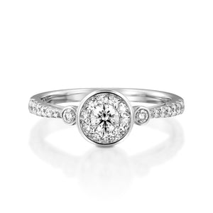 0.56 Carat Oval Engagement Ring -  Halo Ring - 18k White gold