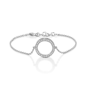 0.38 Cart Diamond chain bracelet with circle pendant - White  gold