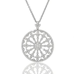 3.15 Carat Pave Fancy Diamond Pendant With Milgrain Edging  by oliva fine jewelry