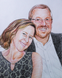 Colored pencil drawing of a man and woman.