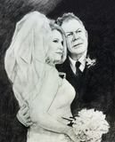 Charcoal drawing of bride and father.