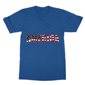 America Text With Flag Softstyle Ringspun T-Shirt Apparel Flagdesignproducts.com