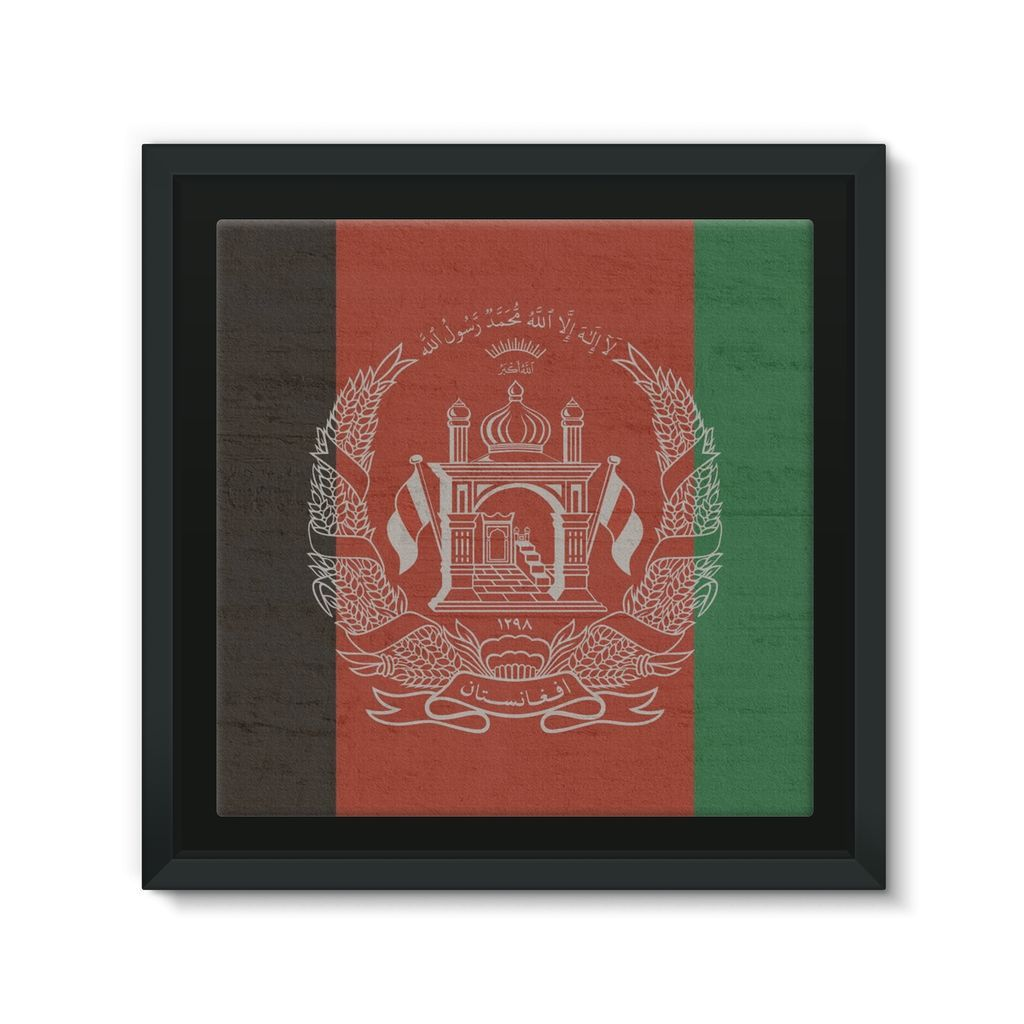 Afganistan Stone Wall Flag Framed Canvas Wall Decor Flagdesignproducts.com