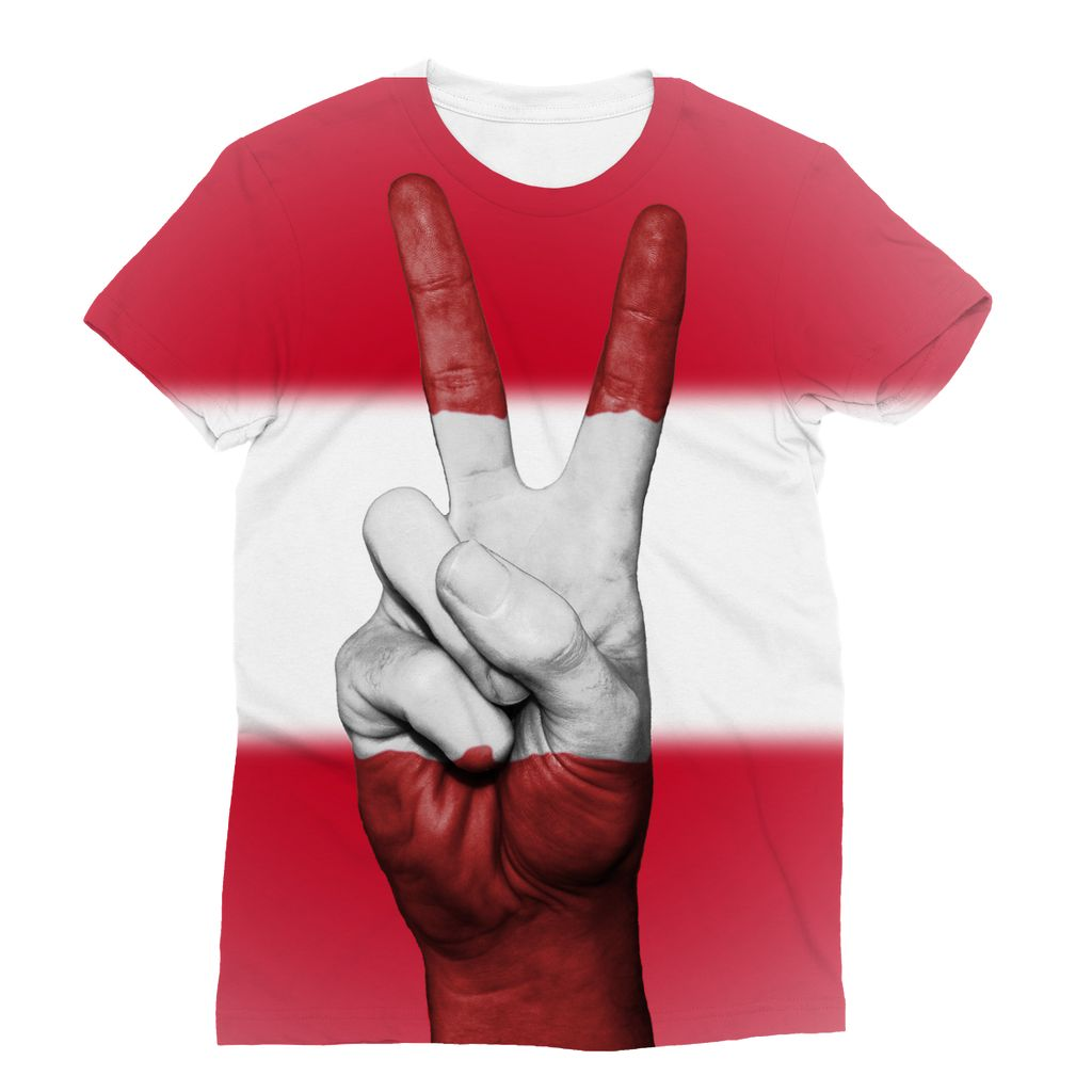 Austria Flag And Hand Sublimation T-Shirt Apparel Flagdesignproducts.com