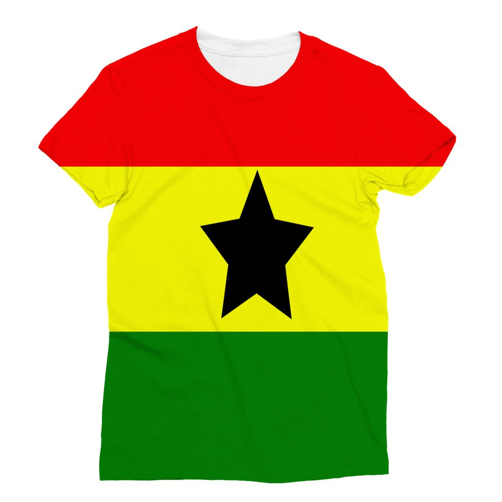 Flag Of Ghana Sublimation T-Shirt Apparel Flagdesignproducts.com