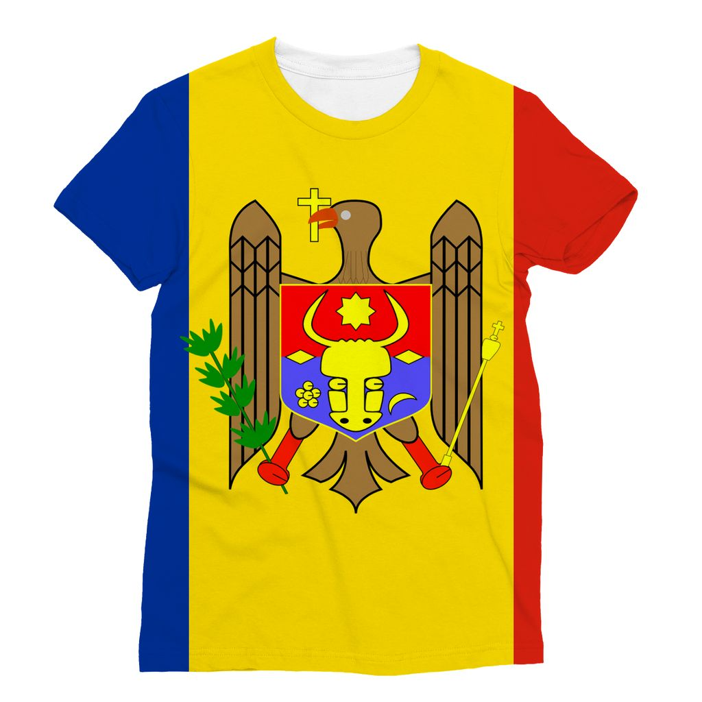 National Flag Of Moldova Sublimation T-Shirt Apparel Flagdesignproducts.com