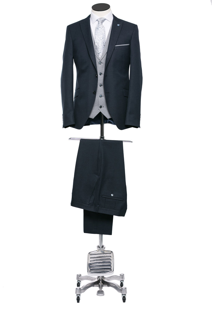 Howie Navy Three Piece Suit with Grey Waistcoat