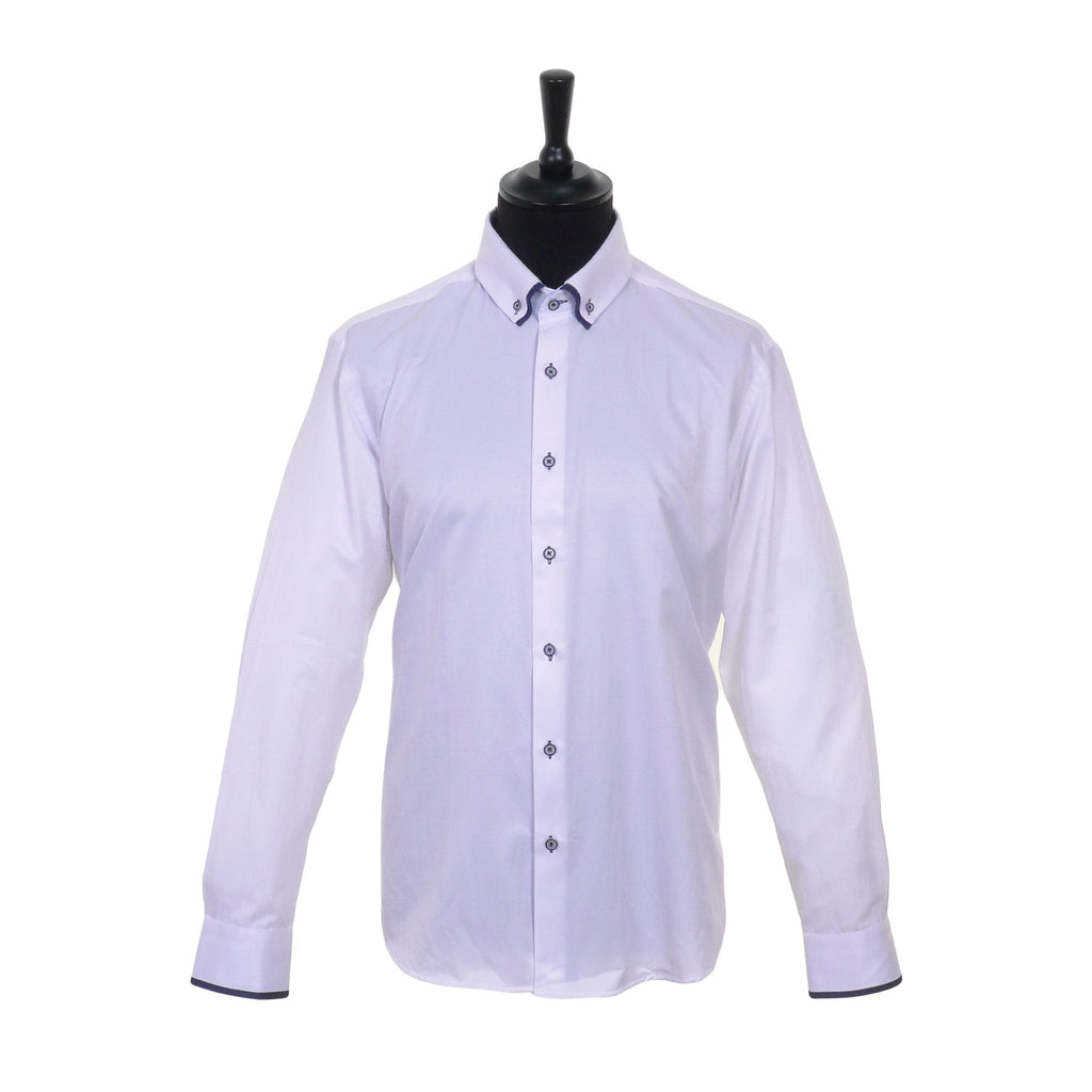 White Double Collar Tailored Fit Shirt by Advise - Front