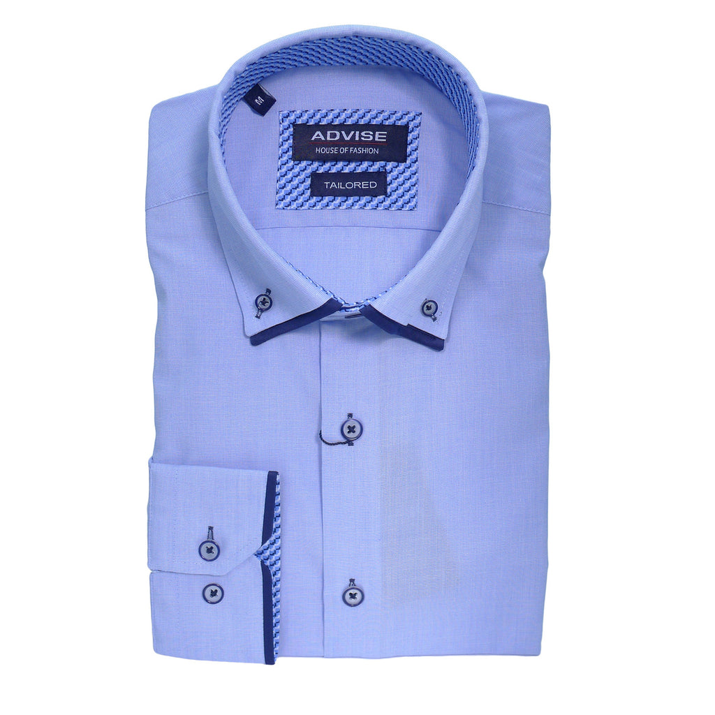 Blue Double Collar Tailored Fit Shirt by Advise