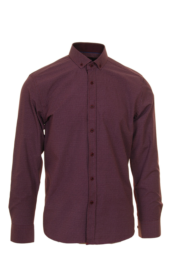 Long Sleeve Burgundy Dot Shirt by Advise front