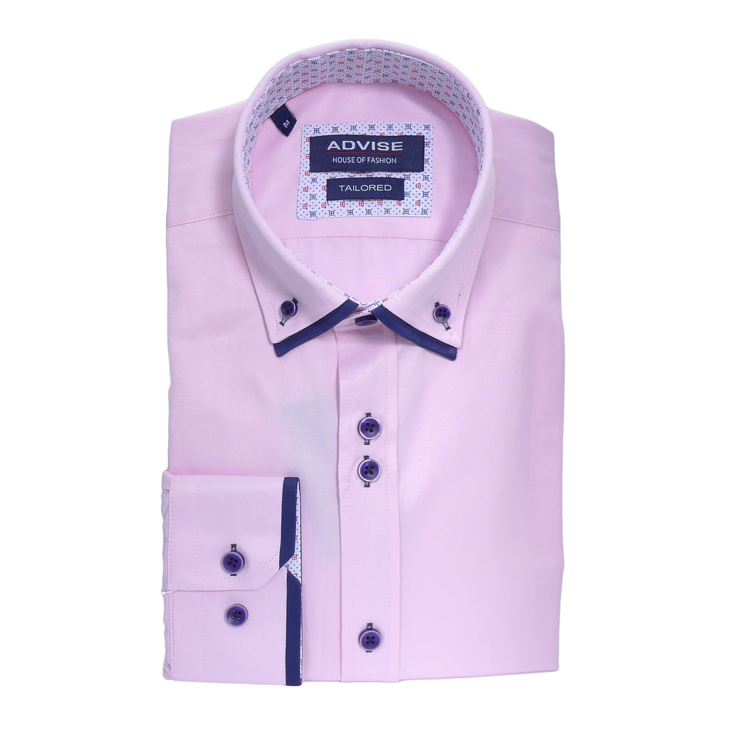 Tailored Double Collar Pink Shirt