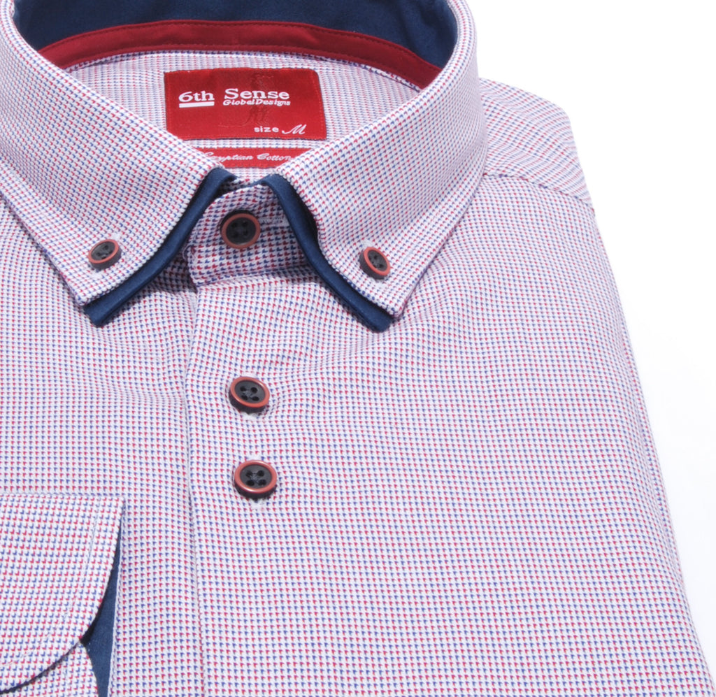 Double Collar Regular Fit Red Check Shirt by 6th Sense
