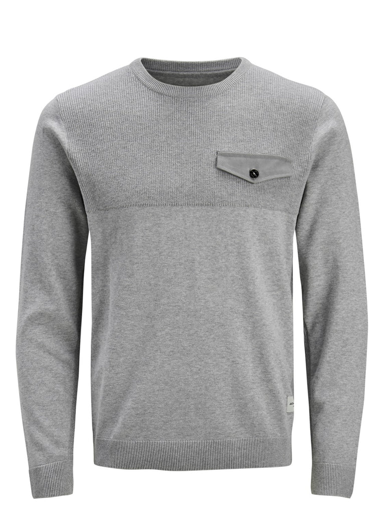 Pocket Crew Neck Light Grey Knit.