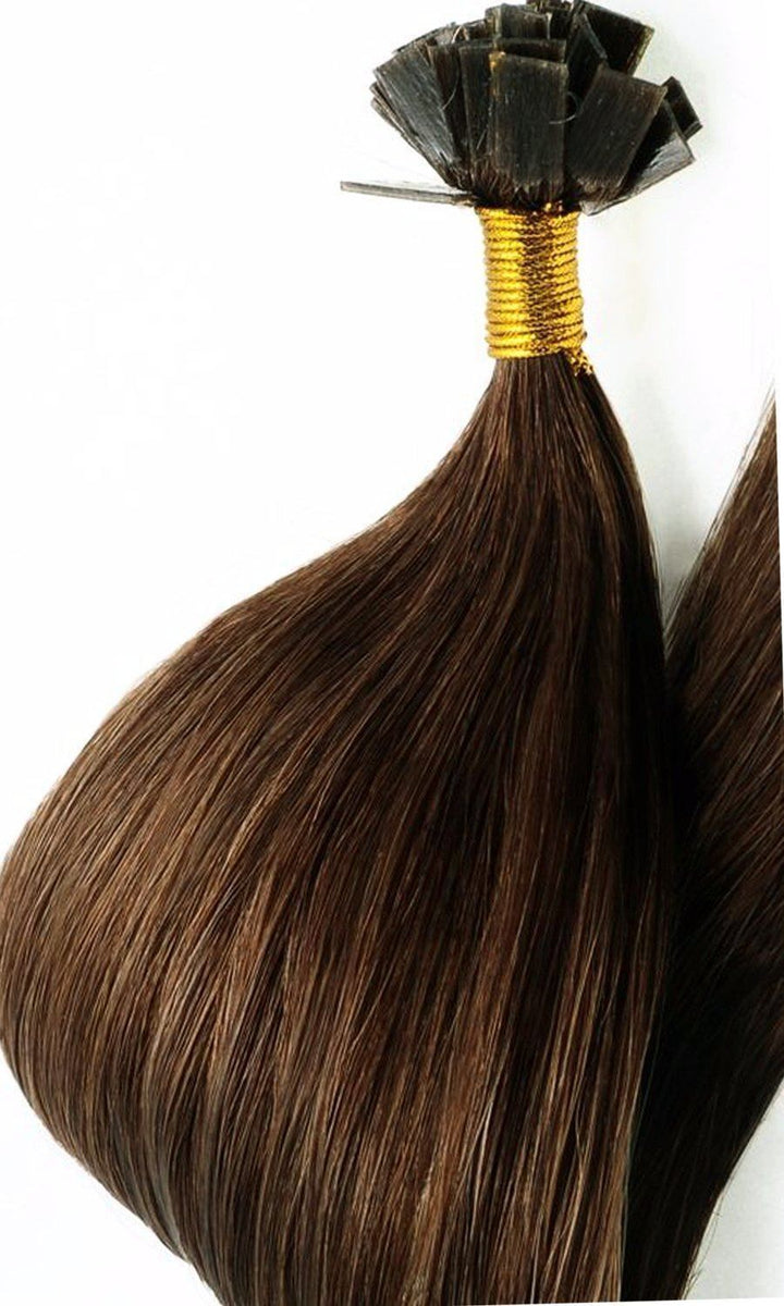 PRO DELUXE LINE Light Natural Brown Keratin Bondings Hair Extensions