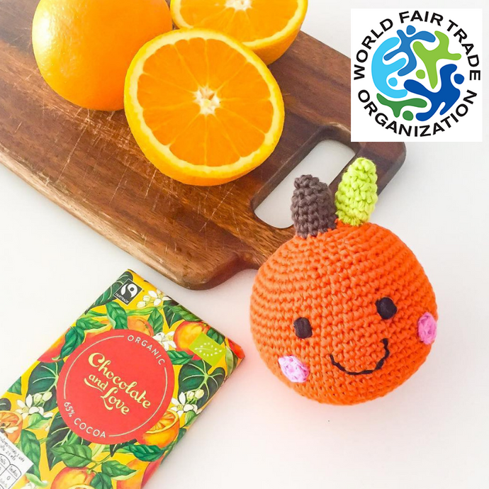 fruit orange en tricot jouet enfant laine wlcome sunshine