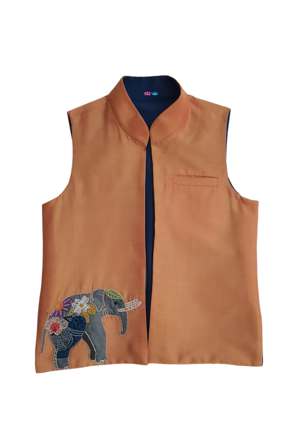 Elephant Motif reversible bandi jacket