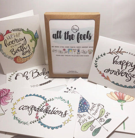 all the feels / pack of 8 note cards / greeting cards / for 8 occasions