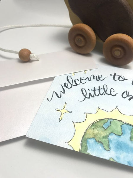 Welcome to the world little one / New Baby Card / watercolor and ink / blank inside