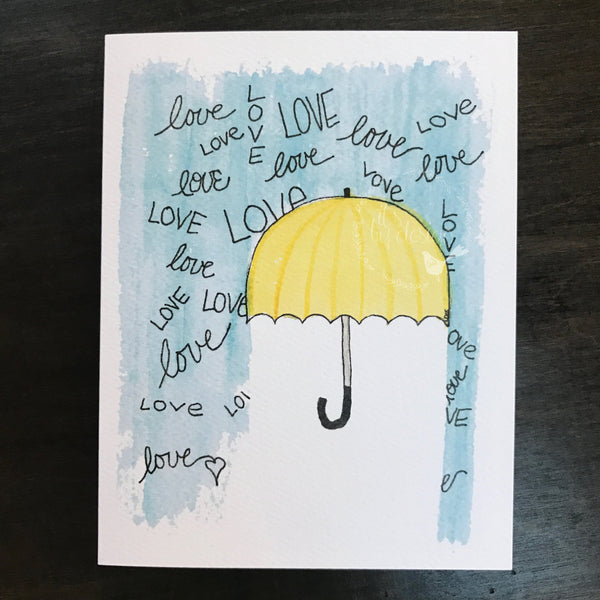 Shower Card / for baby or bride / watercolor and ink / blank inside / Kraft envelope