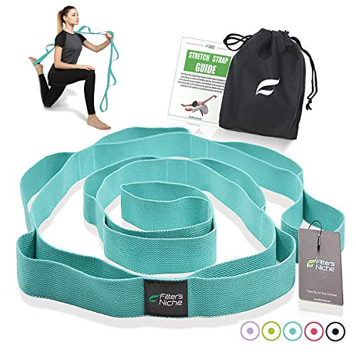 Yoga Stretch Strap, Non-Elastic Exercise Band with 10 Loops - Exercise Earth