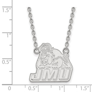 Alternate view of the NCAA 14k White Gold James Madison U Large Pendant Necklace by The Black Bow Jewelry Co.